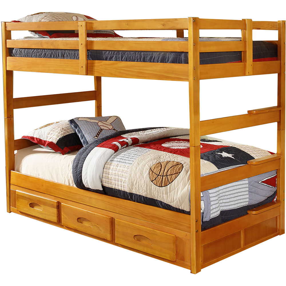 Grant Twin/Twin Bunk Bed-Top&Bottom Uprights, Rails and Bunky Slat