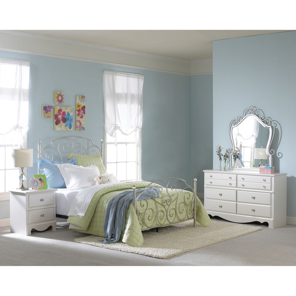 Sydney Twin Bed w/ Rails - Metal Brushed Nickle