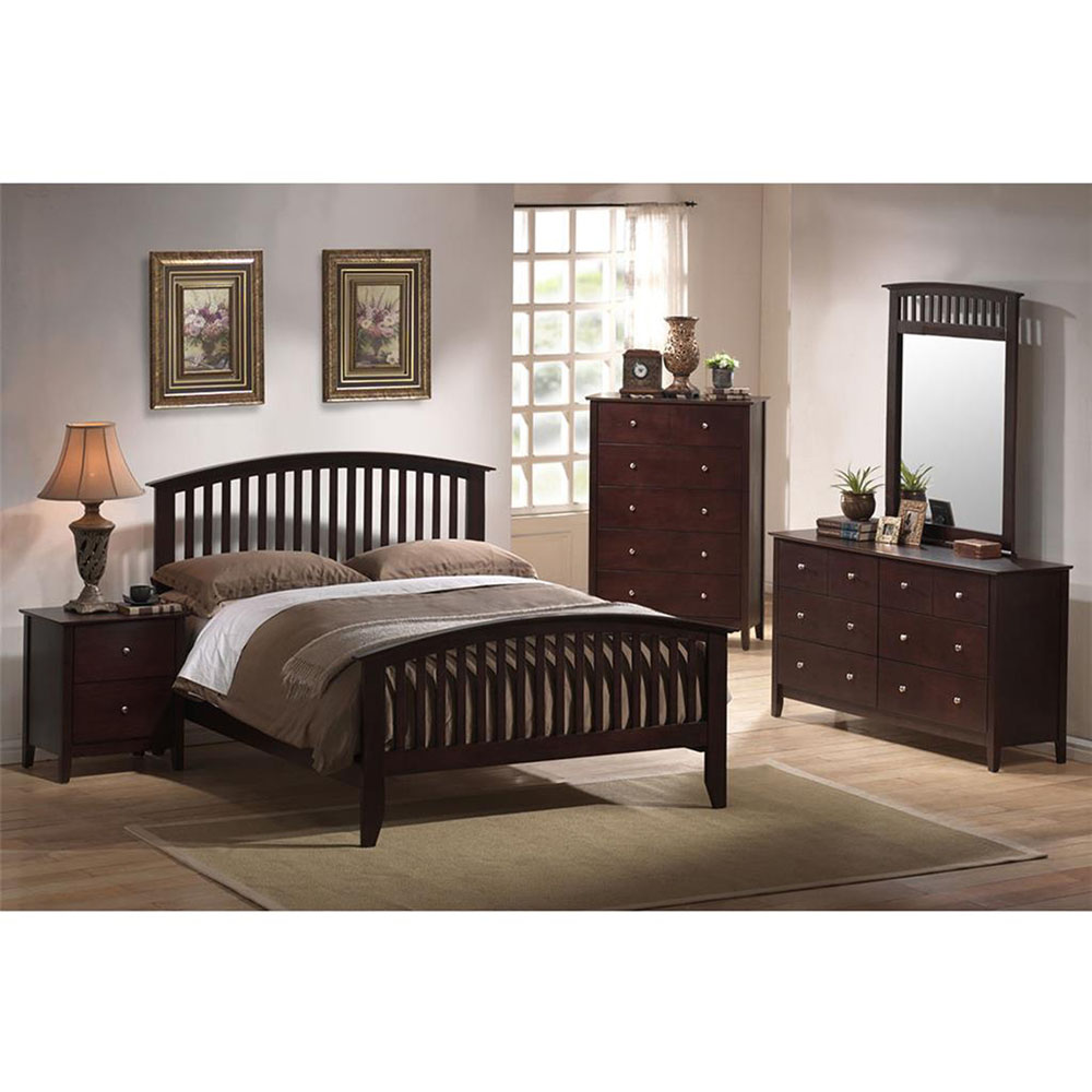 Saranda 5PC Bedroom Suite: King Bed, Dresser, Mirror, (2) Nightstands
