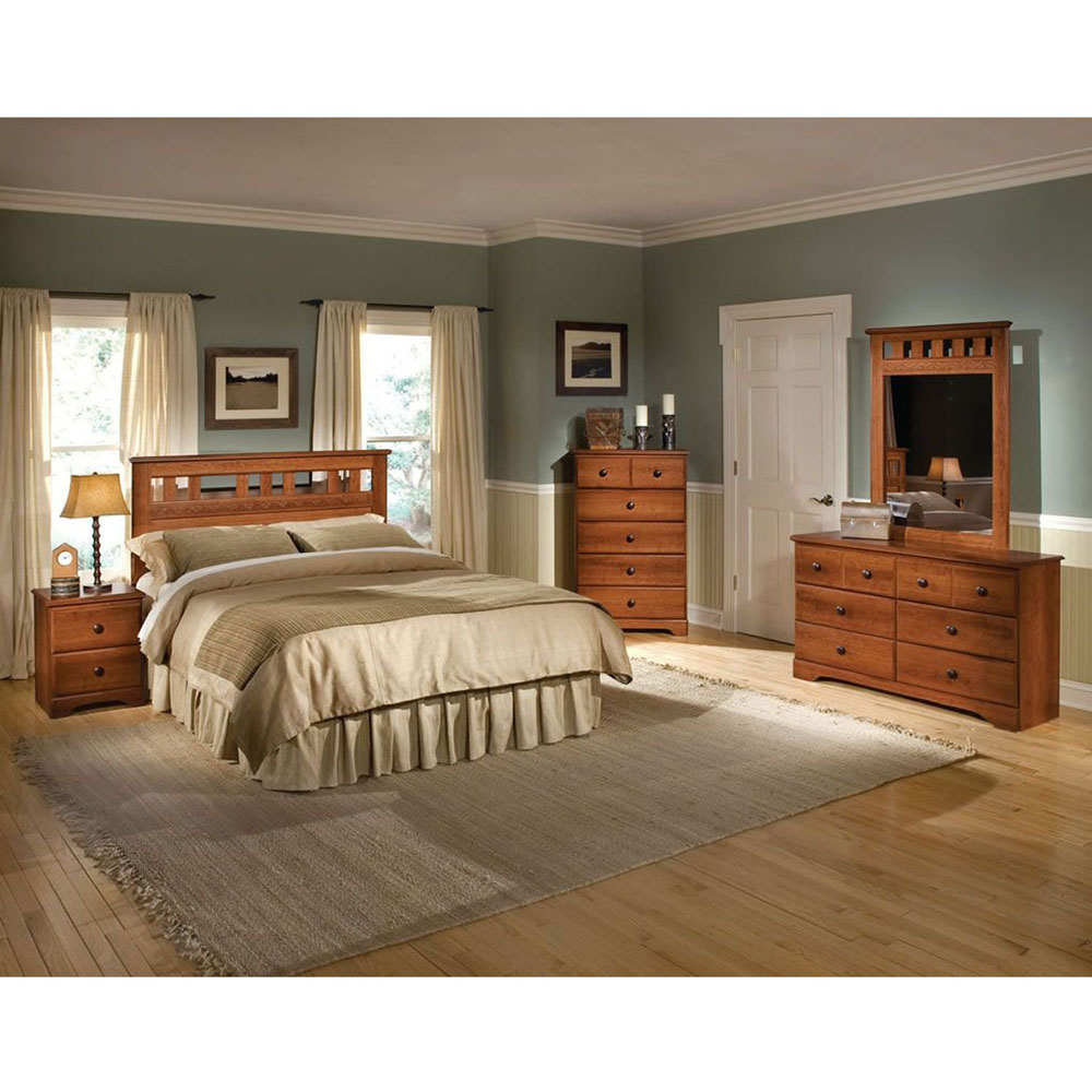 Seasons 5PC Bedroom Suite: F/Q HB, Dresser, Mirror, (2) Nightstands