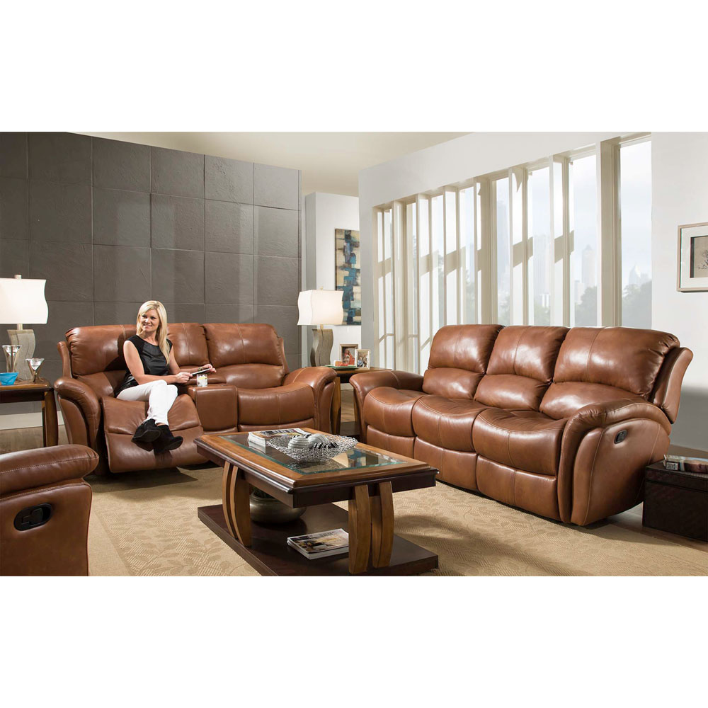 Appalachia 100% Leather Double Reclining Console Loveseat