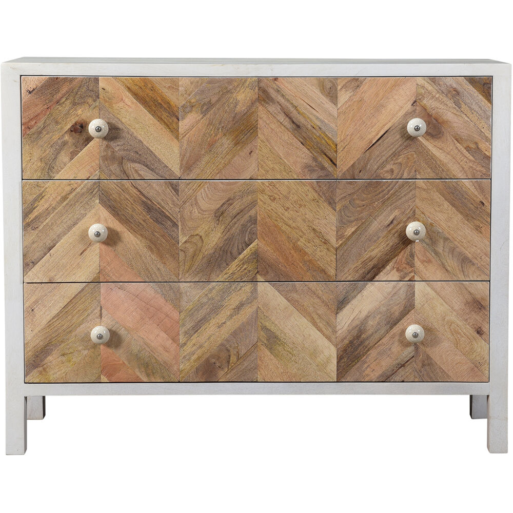 "Arlington Mango Wood 3-Drawer Chest, 41""Wx12.5""Dx32""H"
