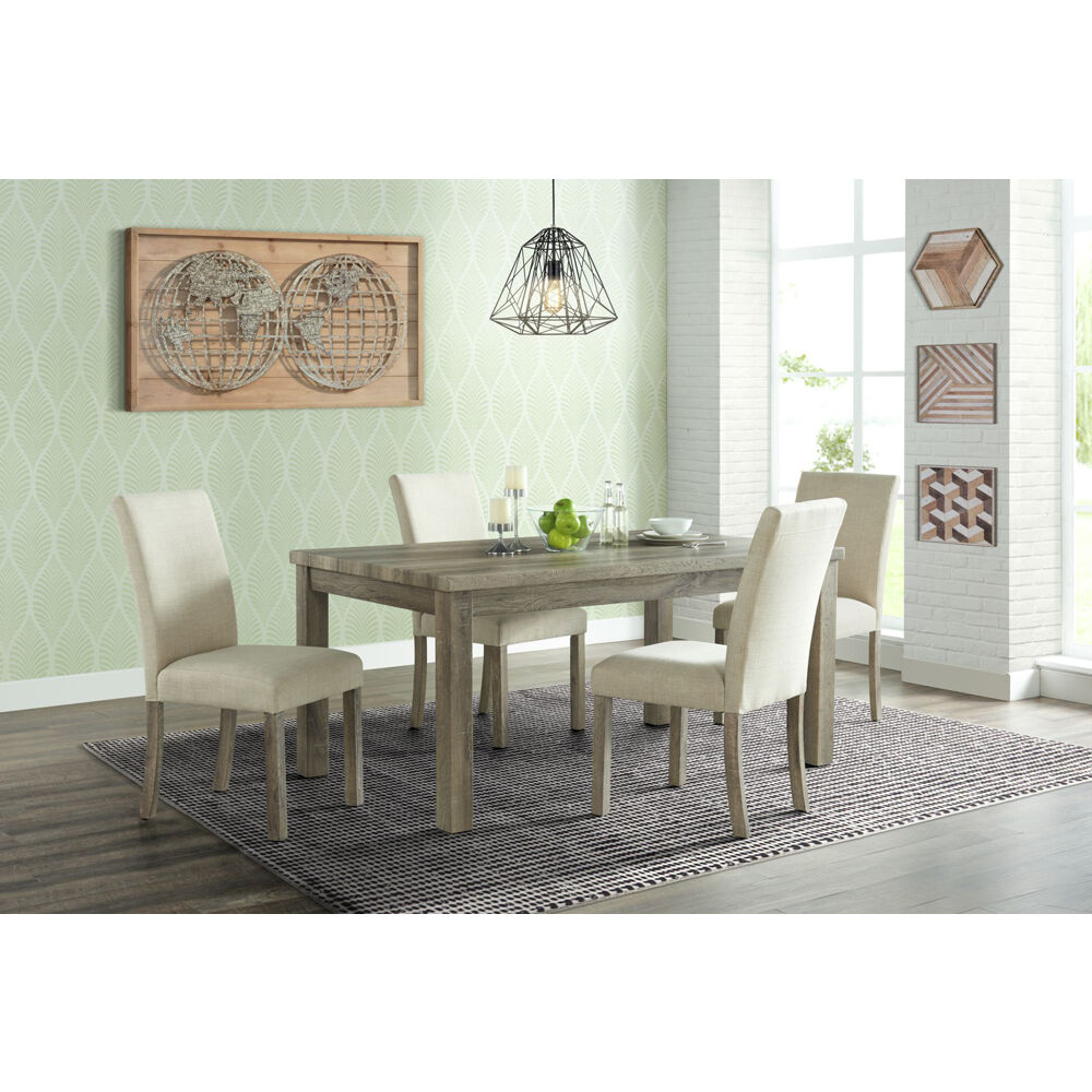 Wyeth Dining 5PC Dining Set: Table, 4 Fabric Side Chairs