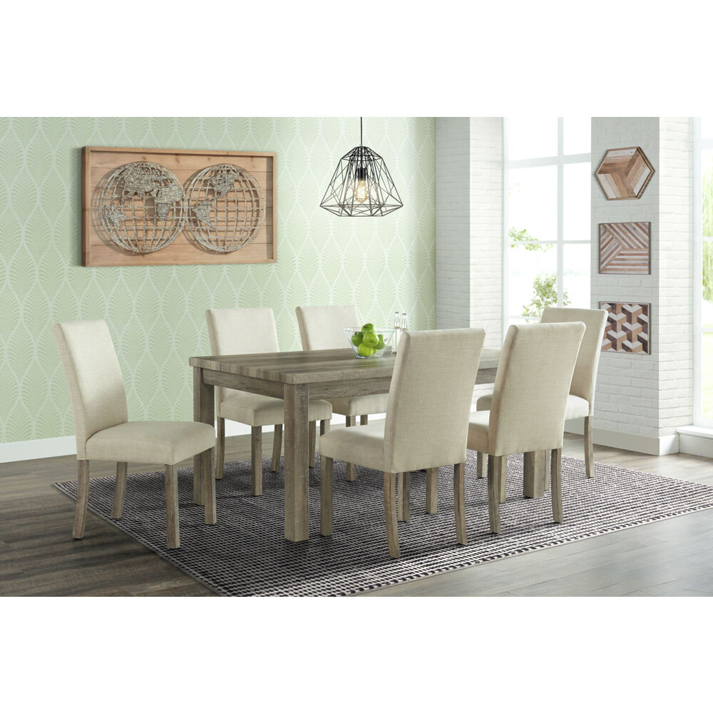 Wyeth Dining 7PC Dining Set: Table, 6 Fabric Side Chairs