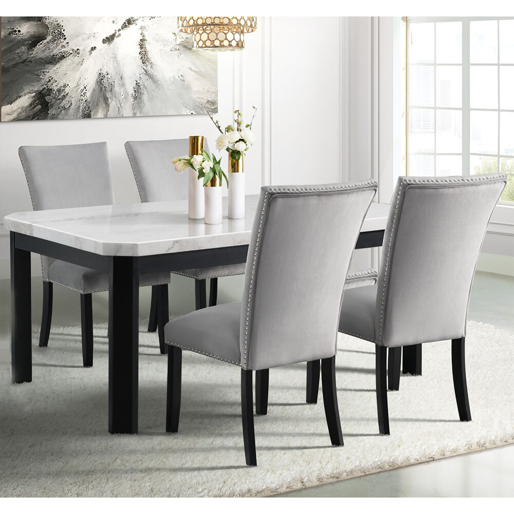 Solano Dining 5PC Dining Set: Table, 5 Fabric Side Chairs