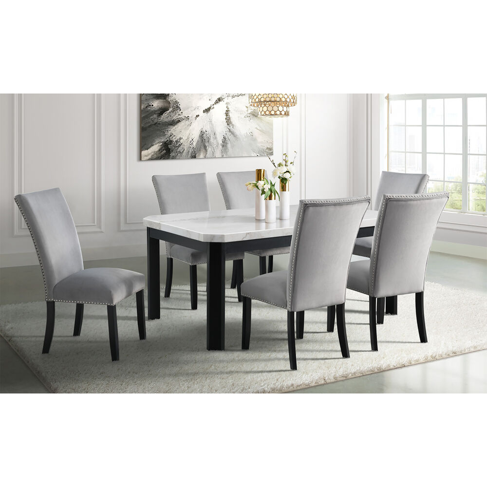 Solano Dining 7PC Dining Set: Table, 6 Fabric Side Chairs