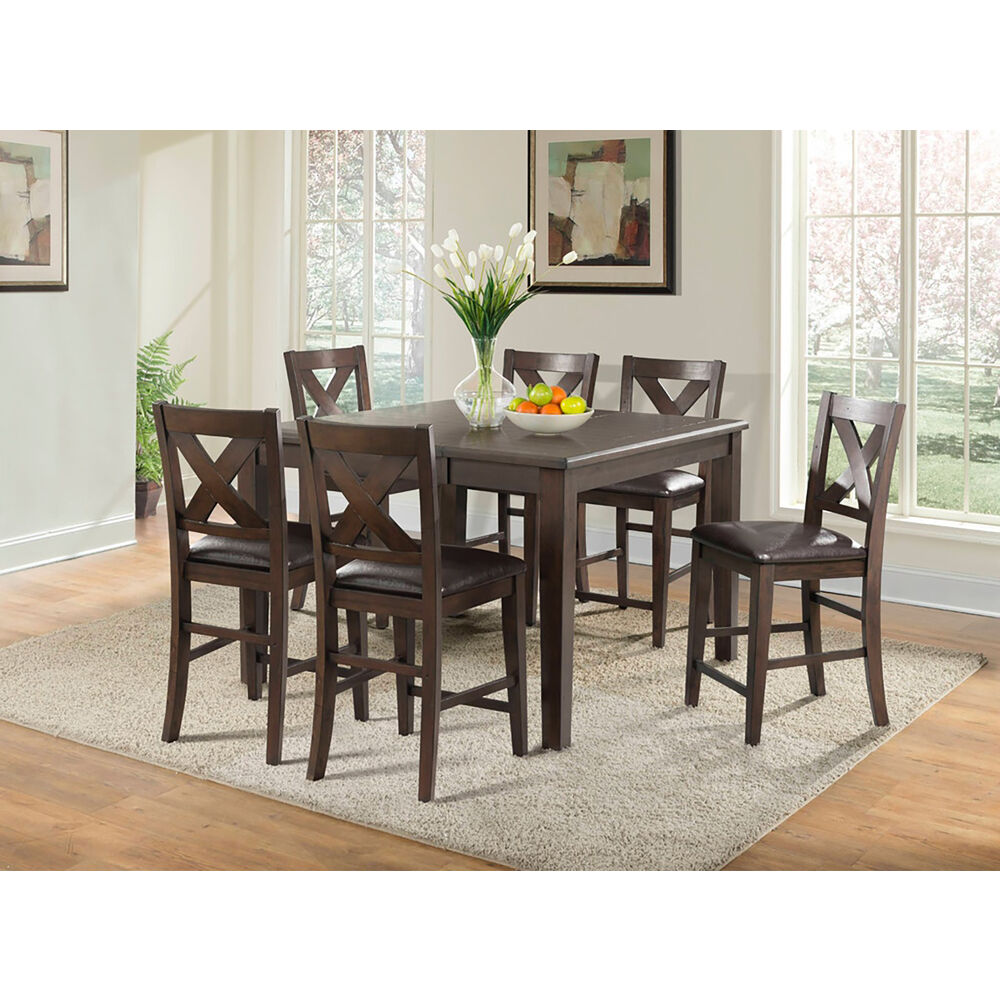 Huntington 7PC Dining Set: Table, 6 Faux Leather Side Chairs