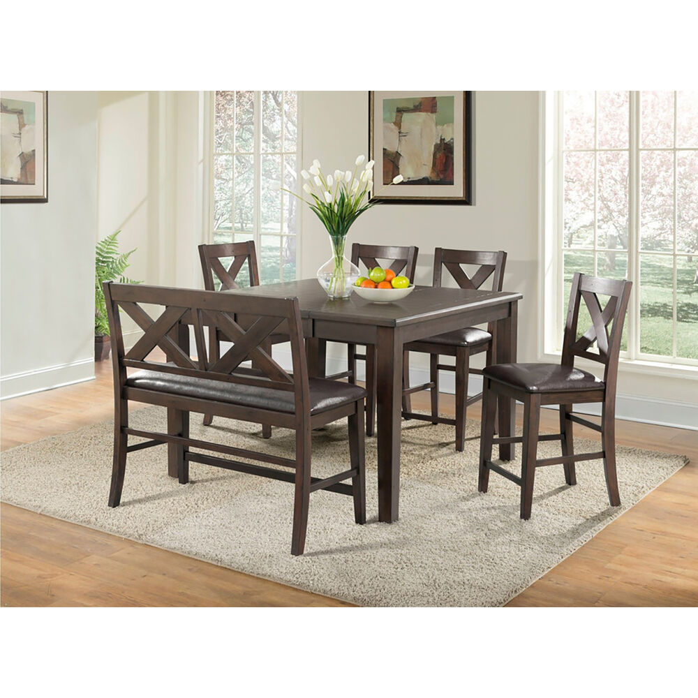 Huntington7PC Dining Set: Table, Faux Lthr Bench, 4 Faux Lthr Side Chair