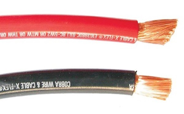 BATTERY CABLE, COBRA X-FLEX, 4/0AWG, 12IN, BLK-BB