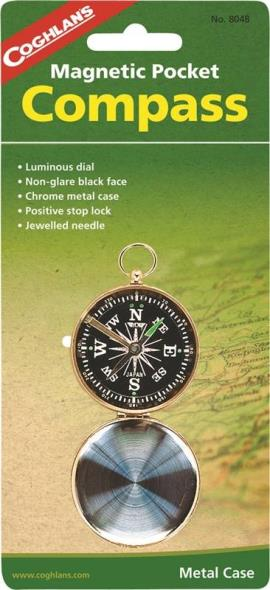 Coghlans 8048 Magnetic Pocket Compass, Metal, Chrome-Plated, Black