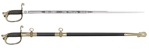 US Naval Officer's Sword, Ray Skin Handle, Leather Scabbard