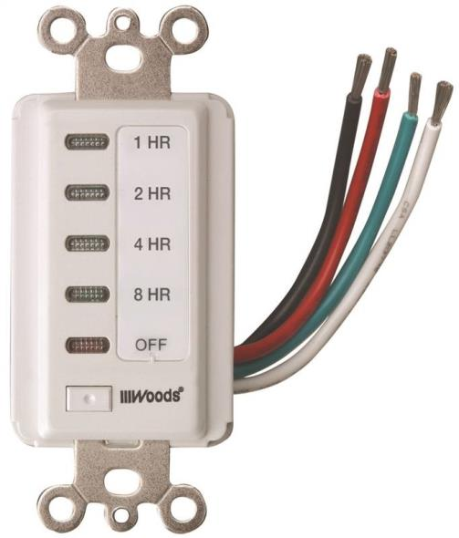 Woods 59013 In-Wall Timer, 120 V, 15 A, 2, 4, 8, 12 hr Off