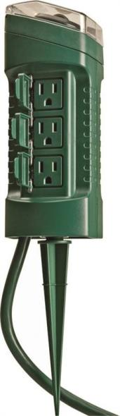 Woods 13547 Power Stake With Built-in Timer, 125 V, 15 A, 6 Outlet, Green