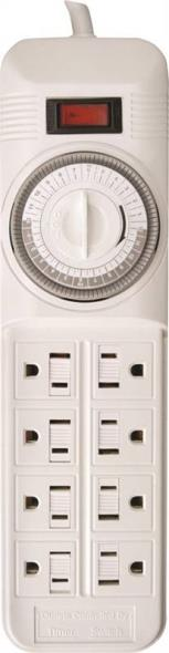 Coleman 22575 Power Outlet Strip, 125 V, 15 A, 8 Outlet, White