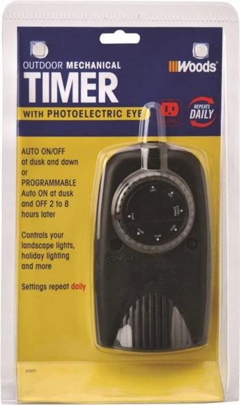 Coleman 2001 Outdoor Mechanical Timer Photoelectric, 120 V, 1000 W, 24 hr