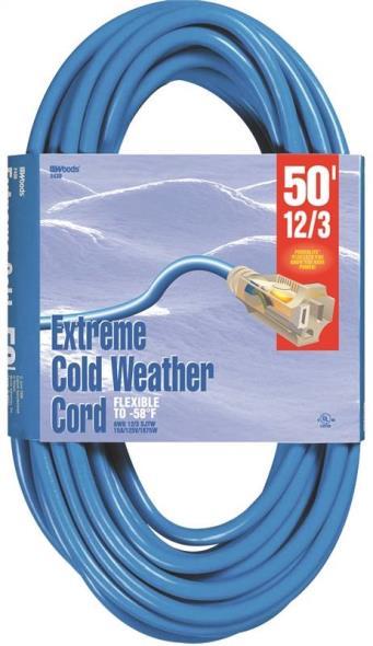 CORD EXT COLDFLX 12/3X50FT BLU