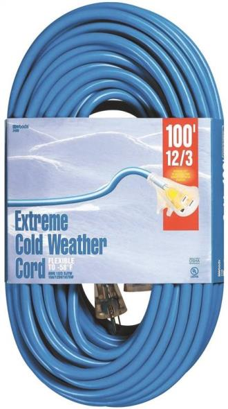 CORD EXT CLDFLX 12/3X100FT BLU