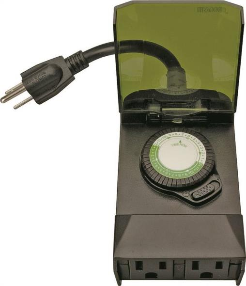Woods 50011 Outdoor Mechanical Timer, 125 V, 15 A, 30 Min Interval, 24 hr, 24 Cycles per day