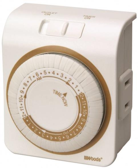 Woods 50000 Indoor Mechanical Timer, 125 V, 15 A, 30 Min Interval, 24 hr, 24 On/Off Cycles per day