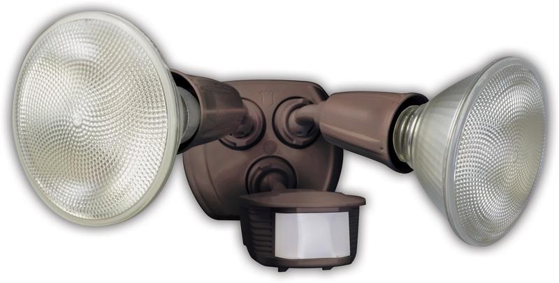 Designers Edge L-6003BR Twin Head Motion Activated Flood Light, 120 V, 240 W, PAR, Incandescent, 120 W