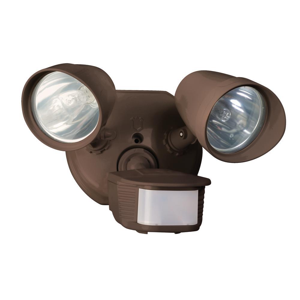Designers Edge L-6010BR Twin Head Motion Activated Flood Light, 120 V, 200 W, Halogen, Bi-Pin, 100 W