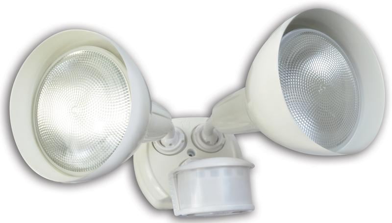 Designers Edge L-6004WH Twin Head Motion Activated Flood Light With Bulb Shield, 120 V, 240 W, PAR, Incandescent