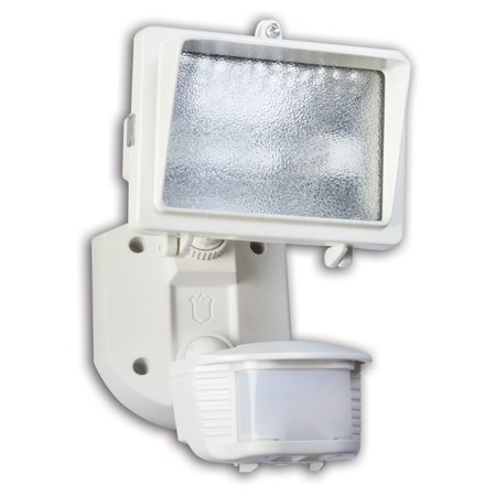 Designers Edge L-6006WH Single Head Motion Activated Flood Light, 120 V, 150 W, Halogen, 150 W