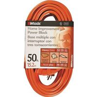 CCI Tri-Source SJTW Extension Cord With 3-Outlet Power Block Connector, 3 14 AWG Bare Copper Conductor, 50 ft L