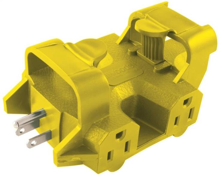 Powerlink Yellow Jacket 997362 Outlet Adapter, 125 V, 15 A, 5 Outlet