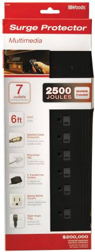 COLEMAN CABLE 7 OUTLET SURGE PROTECTOR WITH PHONE AND COAXIAL CABLE PROTECTION, 6 FT.