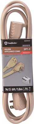 FLAT APPLIANCE EXTENSION CORD 15A 125V 14/3 SPT 3 6 FT.