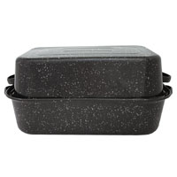 Granite Ware F0511-3 Rectangle Roaster, 21-1/8 in L x 14-1/8 in W x 8-1/8 in H, Carbon Steel/Porcelain, Black
