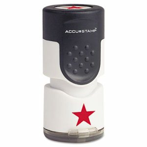 "Accustamp Pre-Inked Round Stamp with Microban, Star, 5/8"" dia., Red"