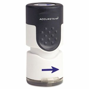 "Accustamp Pre-Inked Round Stamp with Microban, Arrow, 5/8"" dia, Blue"