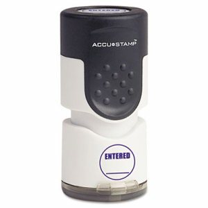"Accustamp Pre-Inked Round Stamp with Microban, ENTERED, 5/8"" dia, Blue"