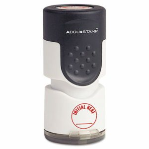"Accustamp Pre-Inked Round Stamp with Microban, INITIAL HERE, 5/8"" dia, Red"