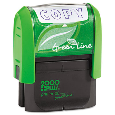 Green Line Message Stamp, Copy, 1 1/2 x 9/16, Blue
