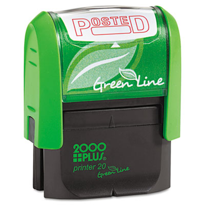Green Line Message Stamp, Posted, 1 1/2 x 9/16, Red