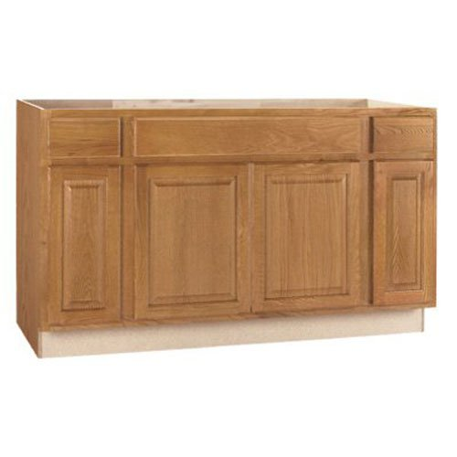 RSI HOME PRODUCTS HAMILTON SINK BASE CABINET, FULLY ASSEMBLED, RAISED PANEL, OAK, 60X34-1/2X24 IN.