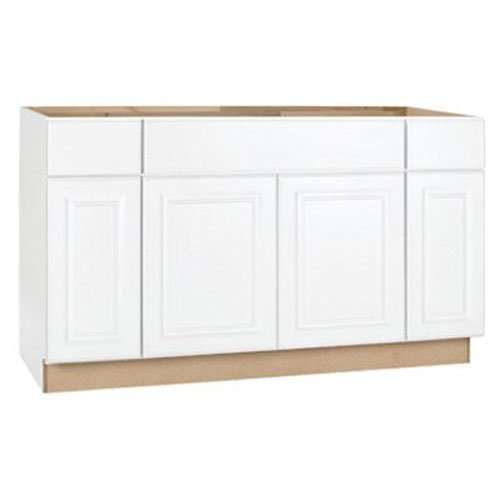 RSI HOME PRODUCTS HAMILTON SINK BASE CABINET, FULLY ASSEMBLED, RAISED PANEL, WHITE, 60X34-1/2X24 IN.