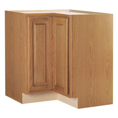 RSI HOME PRODUCTS HAMILTON CORNER BASE CABINET WITH LAZY SUSAN, FULLY ASSEMBLED, RAISED PANEL, OAK, 36X34-1/2X24 IN.