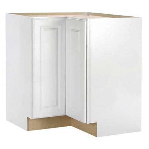 RSI HOME PRODUCTS HAMILTON CORNER BASE CABINET WITH LAZY SUSAN, FULLY ASSEMBLED, RAISED PANEL, WHITE, 36X34-1/2X24 IN.