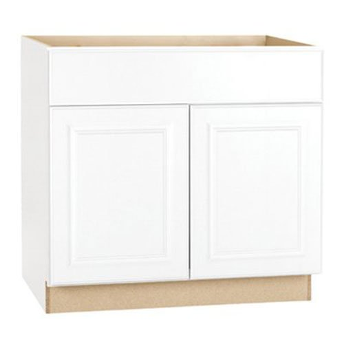 RSI HOME PRODUCTS HAMILTON BASE CABINET, FULLY ASSEMBLED, RAISED PANEL, WHITE, 36X34-1/2X24 IN.