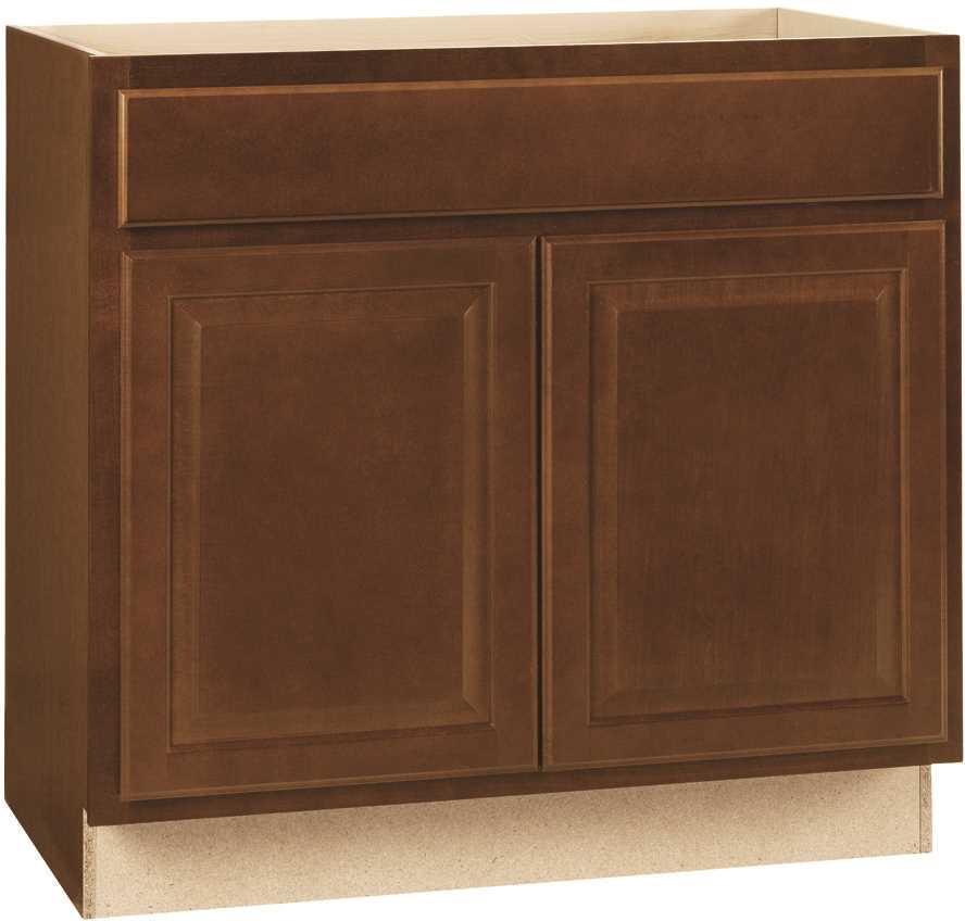 RSI HOME PRODUCTS HAMILTON ADA SINK BASE CABINET, FULLY ASSEMBLED, RAISED PANEL, CAFE, 36X34-1/2X24 IN.