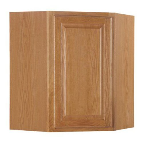 RSI HOME PRODUCTS HAMILTON CORNER WALL CABINET, FULLY ASSEMBLED, RAISED PANEL, OAK, 24X30X12 IN.