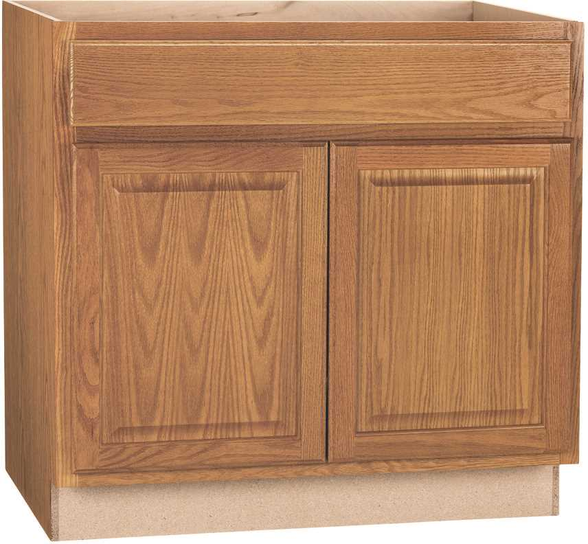 RSI HOME PRODUCTS HAMILTON ADA SINK BASE CABINET, FULLY ASSEMBLED, RAISED PANEL, OAK, 36X34-1/2X24 IN.