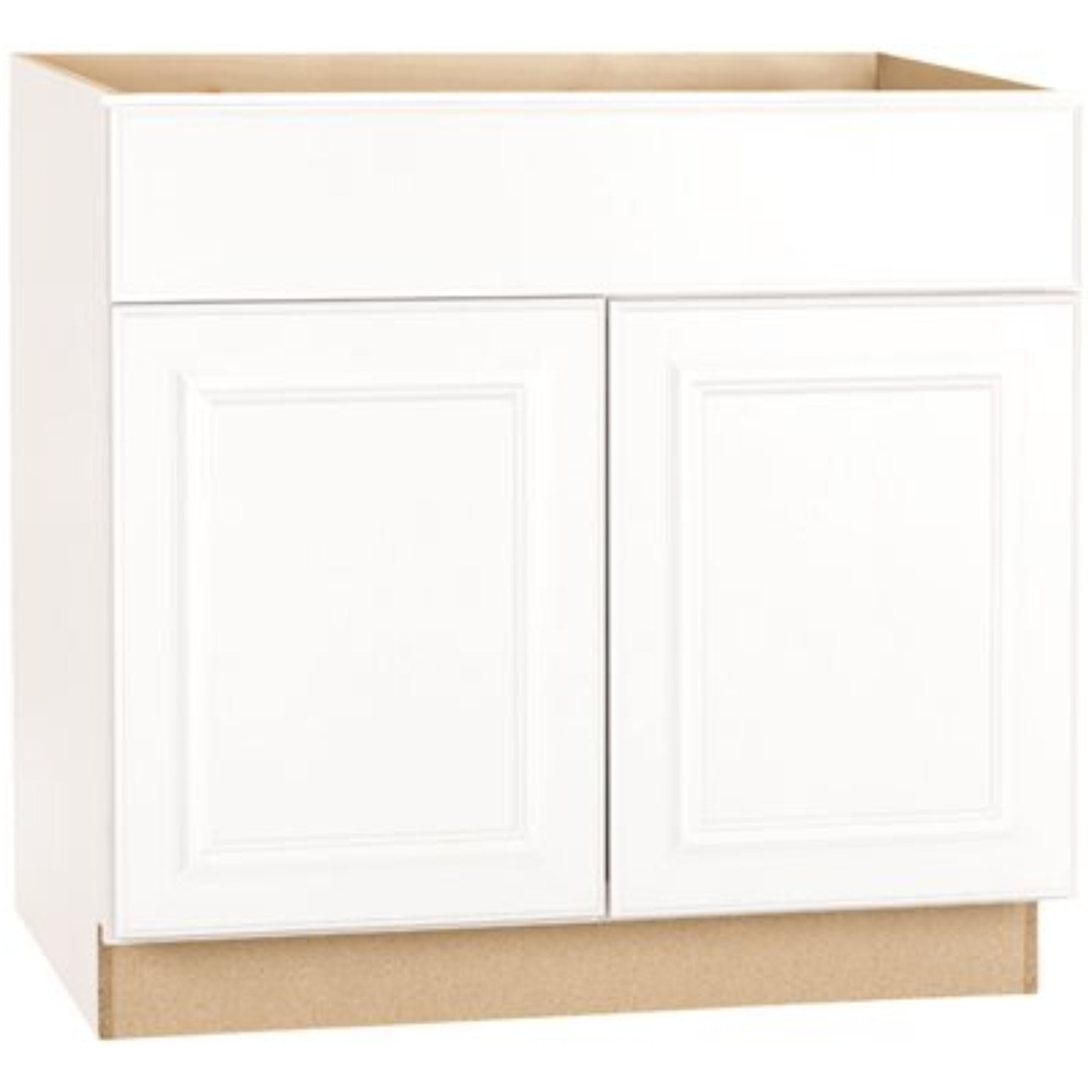 RSI HOME PRODUCTS HAMILTON ADA SINK BASE CABINET, FULLY ASSEMBLED, RAISED PANEL, WHITE, 36X34-1/2X24 IN.