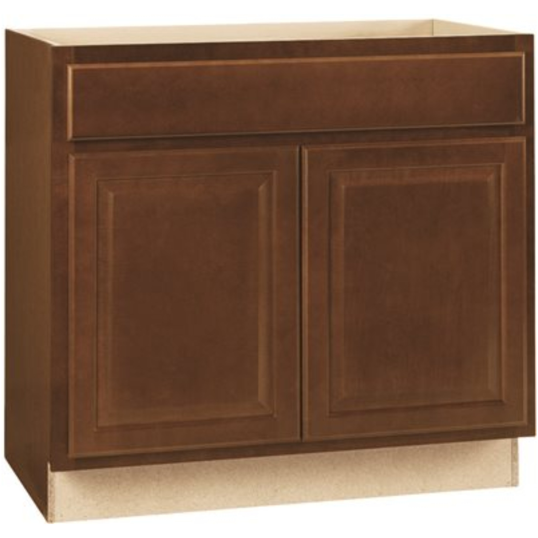 RSI HOME PRODUCTS HAMILTON SINK BASE CABINET, FULLY ASSEMBLED, RAISED PANEL, CAFE, 36X34-1/2X24 IN.