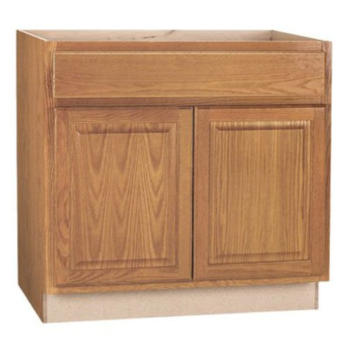RSI HOME PRODUCTS HAMILTON BASE CABINET, FULLY ASSEMBLED, RAISED PANEL, OAK, 36X34-1/2X24 IN.