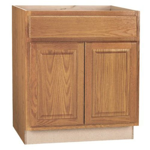 RSI HOME PRODUCTS HAMILTON BASE CABINET, FULLY ASSEMBLED, RAISED PANEL, OAK, 30X34-1/2X24 IN.